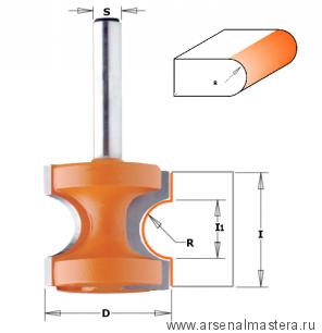 CMT 954.503.11 Фреза концевая радиусная Бычий нос/Катушка для создания красивых закруглённых торцов полок, ступеней и подоконников D25,4 I22,0 S12,0 R4,75