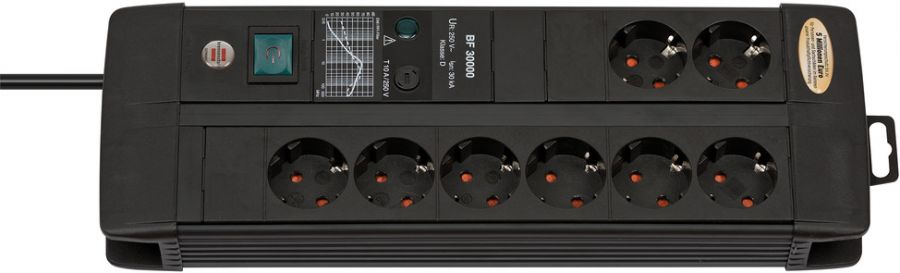 Сетевой фильтр Brennenstuhl Premium-Line 30 000 А; 8 розеток, 3 метра; черный, кабель H05VV-F 3G1,5 (1256000398)