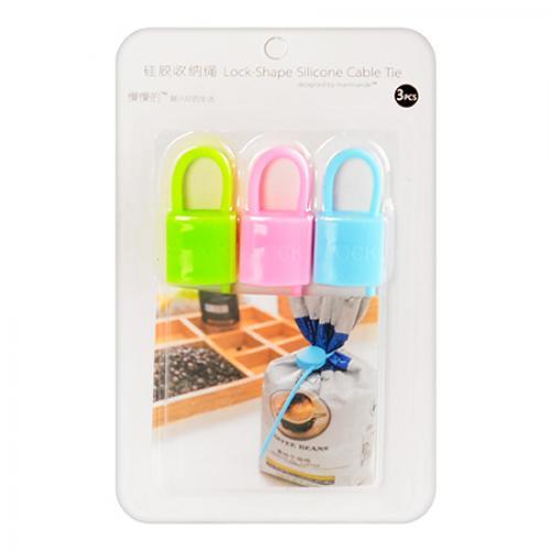 Силиконовый Хомут Lock-Shape Silicone Cable Tie, 3 шт, Форма Квадрат