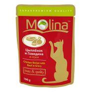 Molina Влажный корм для кошек Цыпленок с говядиной в соусе, 100г