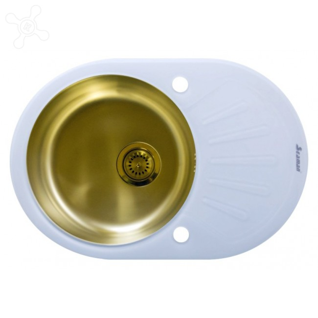 Врезная кухонная мойка Seaman ECO Glass SMG-730W (PVD) 73х50см нержавеющая сталь