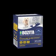 BOZITA Tetra Pac Naturals Влажный корм для собак, кусочки в желе с курицей и рисом. 370гр.