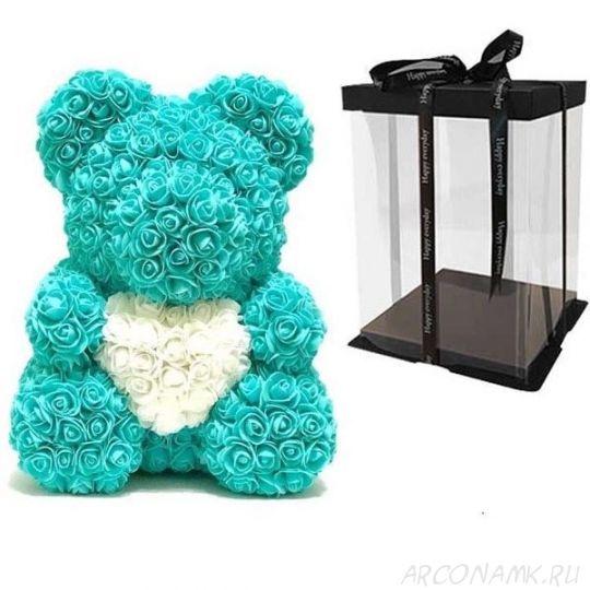 Мишка из роз с сердцем в подарочной коробке, 40 см., Мятный
