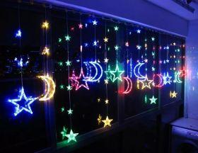 Гирлянда бахрома Звезды и Луна LED цветная 3,5 метра