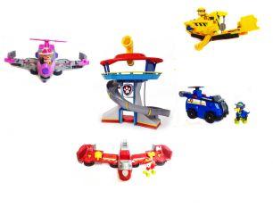 База Спасателей + Набор из 4 героев Щенячий Патруль на больших машинках самолетах трансформерах