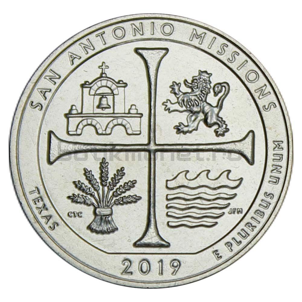 25 центов 2019 США Национальный Исторический Парк Миссии Сан-Антонио S