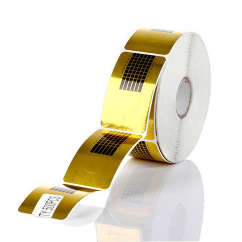 Формы для моделирования ногтей бумажные 500шт (золото,квадрат)