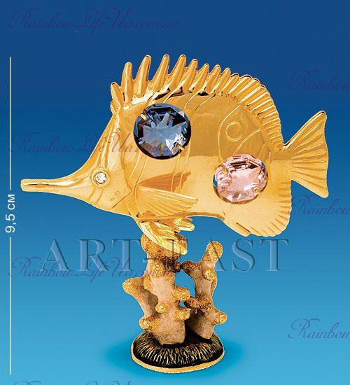 "Фигурка рыбка Барбус на кораллах с камнями ""Swarovski"""