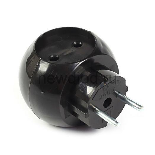 Тройник электрический «Шар» 220 В 6 А черный REXANT