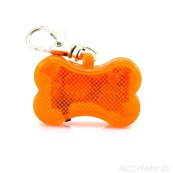 Светодиоидный брелок-адресник с информационной наклейкой для собак Косточка, Цвет: Оранжевый