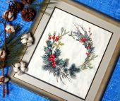 """Схема для вышивки крестом """"Рождественский венок"""". Отшив."""