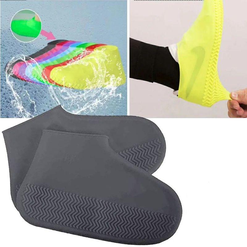 Водонепроницаемые Защитные Чехлы для Обуви Waterproof Silicone Shoe Cover, Размер L, Цвет Серый