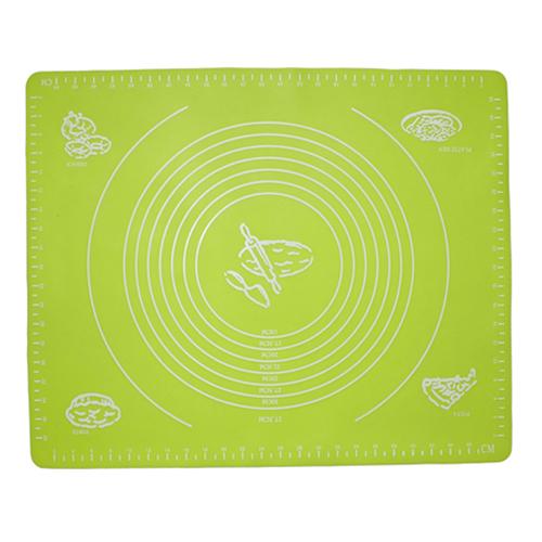 Силиконовый коврик для раскатывания теста, 50х40 см, цвет - зелёный.