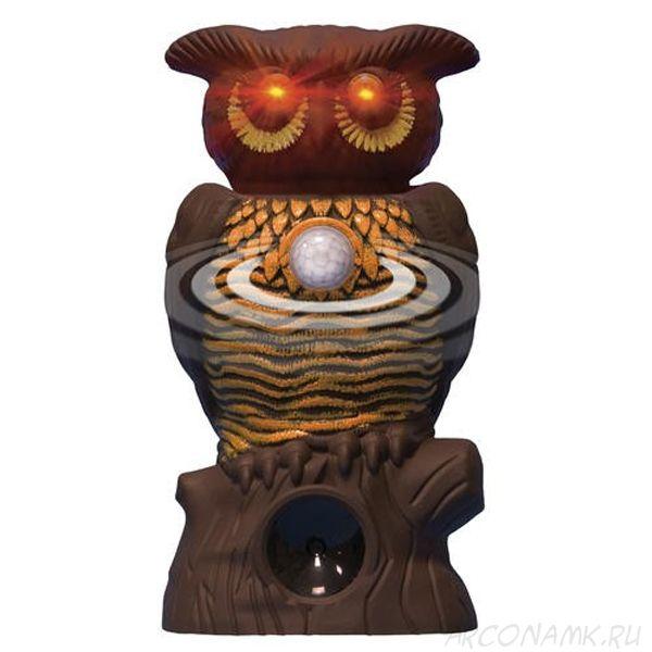 Садовый ультразвуковой отпугиватель вредителей со светодиодной подсветкой Owl Alert