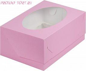 Коробка для капкейков, маффинов 6 шт. 235х160х100 РОЗОВАЯ  с окном