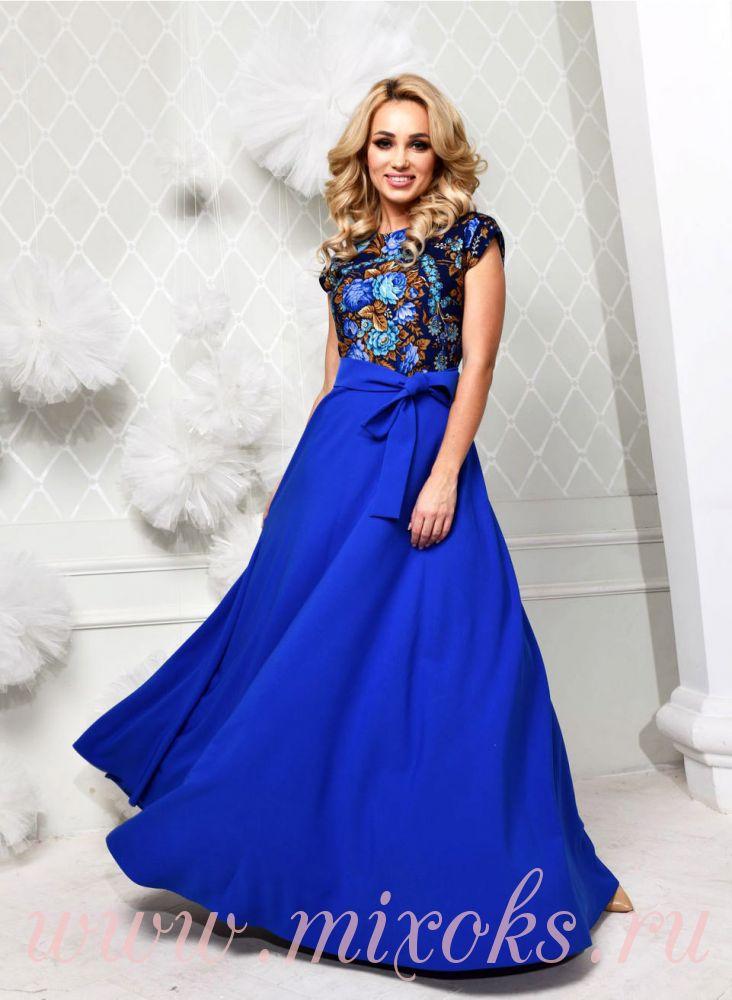 Платье синее из платка