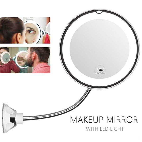 Косметическое зеркало на вакуумной присоске и подсветкой My Fold Jin Ge Mirror, Цвет держателя Белый