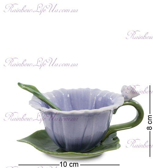 Чайная пара с ложечкой Георгин ''Pavone''