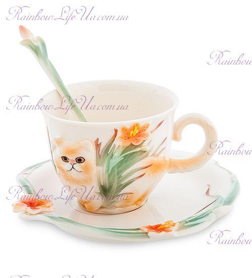Чайная пара с ложечкой Персидский кот ''Pavone''