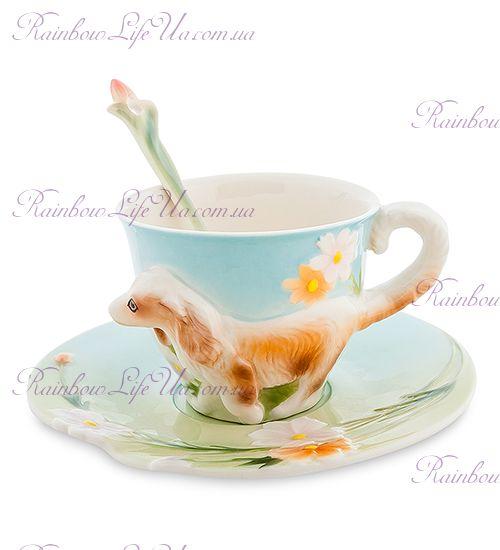 Чайная пара с ложечкой Спаниель ''Pavone''