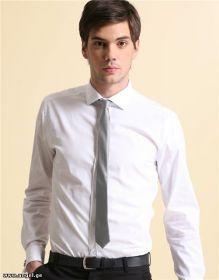 Узкий галстук 38 см серебро серый