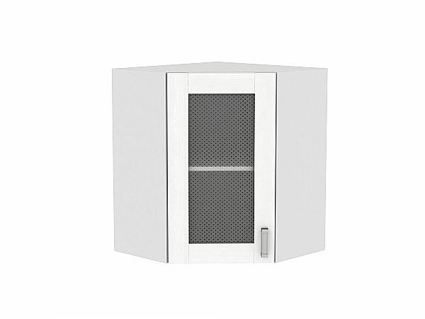 Шкаф верхний угловой Лофт ВУ590 со стеклом (Snow Veralinga)