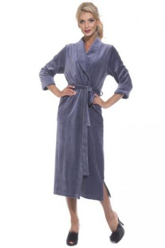 Велюровый удлиненный халат дымчато-синий