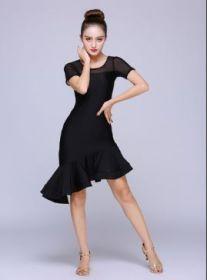 Платье с воланами для латинских танцев черное