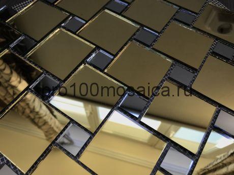 GD50 Золото+Графит зеркало Мозаика зеркальная серия VANTAGGIO, 300*300*4 мм (VIVERE)
