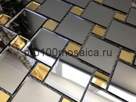 DG50 Золото+Графит зеркало Мозаика зеркальная серия VANTAGGIO, 300*300*4 мм (VIVERE)