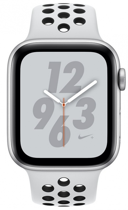 Apple Watch Nike+ Series 4, 44 мм, корпус из серебристого алюминия, спортивный ремешок Nike цвета чистая платина/черный