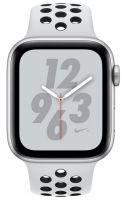 Apple Watch Nike+ Series 4, 40 мм, корпус из серебристого алюминия, спортивный ремешок Nike цвета чистая платина/черный