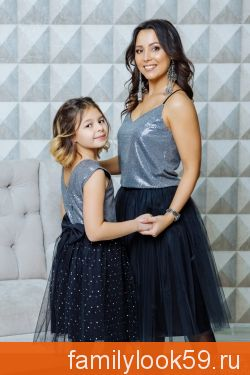 """Комплект в стиле Family Look топ для мамы и платье для дочки """"Шик"""""""