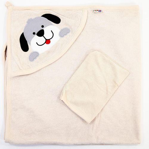 "Полотенце махровое для новорожденных 100х95 см Bonito ""Собачка"""