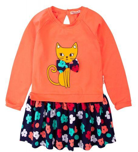 """Платье для девочек Bonito 2-6 лет """"Cat"""" коралловое"""