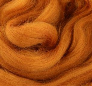 Пряжа шерсть для валяния кукольных волос (рыжий)