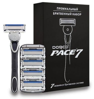 Набор  DORCO  PACE 7 станок + 5 кассет в подарочной упаковка с серебряным тиснением