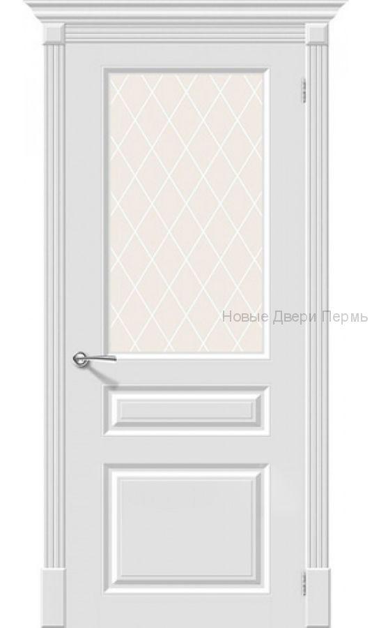 Скинни-15.1 Whitey остекленная Дверь межкомнатная крашенная (Эмаль)