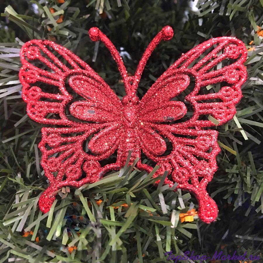 Новогоднее украшение Объемные блестящие бабочки, 4 шт