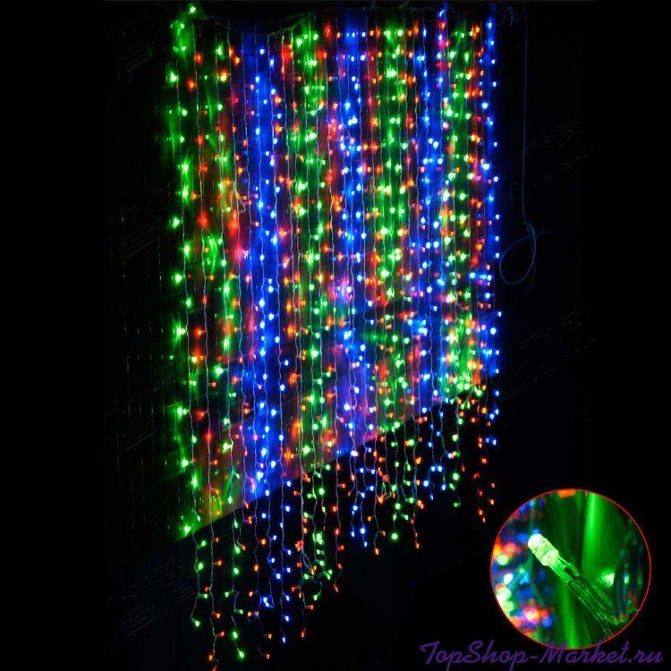 Светодиодная гирлянда Шторка 320 LED лампочек, Разноцветный