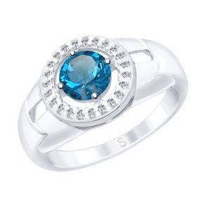 Кольцо из серебра с синим топазом и фианитами 92011541 SOKOLOV