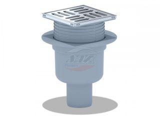 Трап вертикальный регулируемый с выпуском 50мм, с металлической решеткой 100*100 сухой