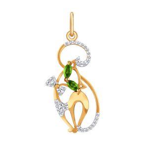 Подвеска «Кошечка» из золота с зелеными фианитами 034240 SOKOLOV