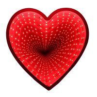Зеркальный ночник с эффектом бесконечности, форма Сердце (3)