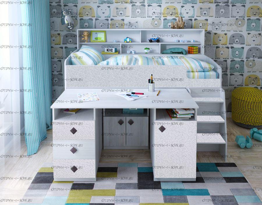 Кровать-чердак Малыш-5 (80х180), в наличии! новые цвета!