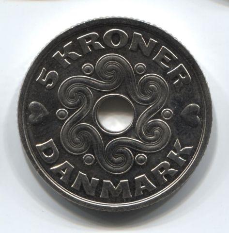 5 крон 2016 года Дания UNC