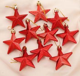 """Украшение ёлочное """"Рельефные звёзды"""" (набор 10 шт) 6 см красный"""