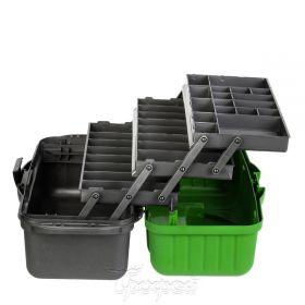 Ящик рыболова трехполочный Helios зеленый