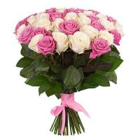 Букет из роз от 11 шт (розовые и белые)