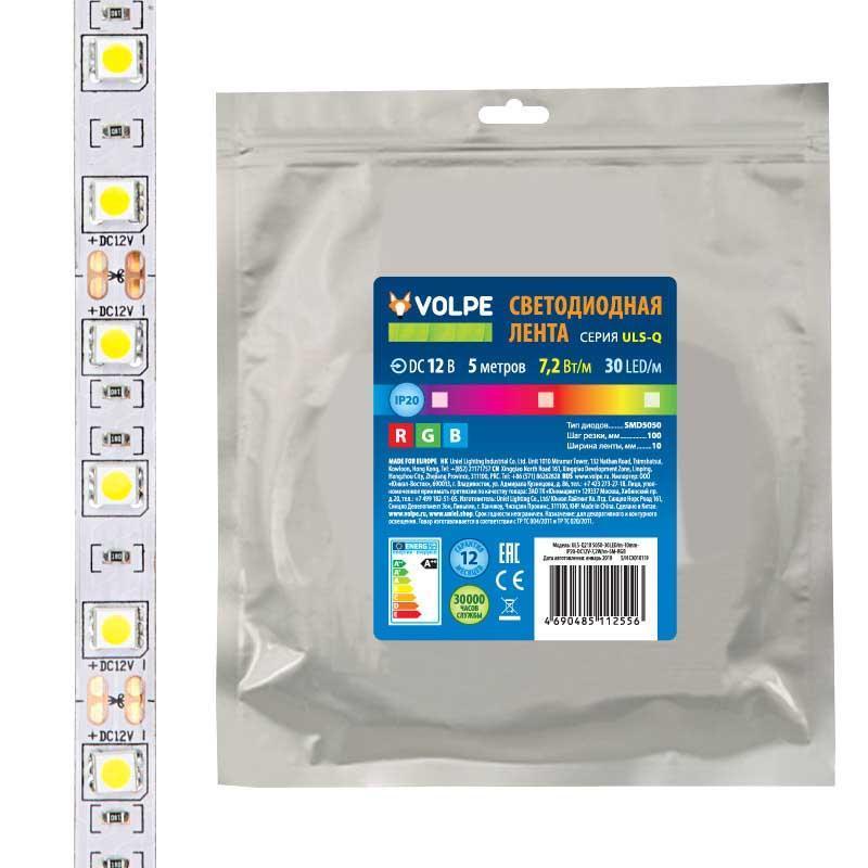 Светодиодная лента Volpe (UL-00004541) 7,2W/m 30LED/m 5050SMD RGB 5M ULS-Q210 5050-30LED/m-10mm-IP20-DC12V-7,2W/m-5M-RGB